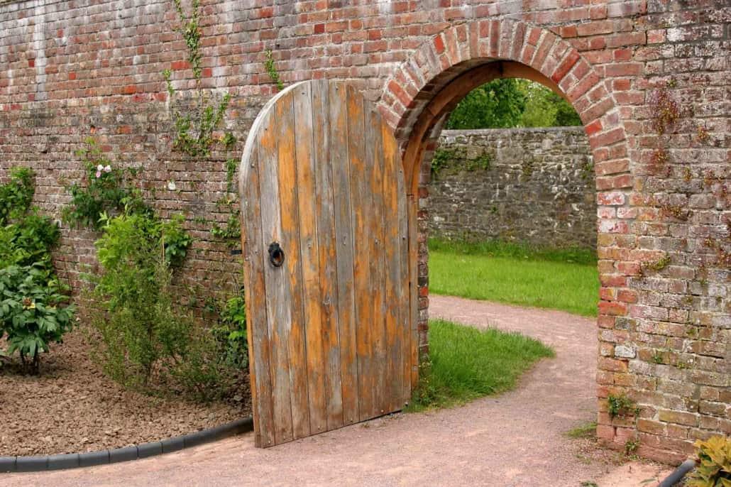 Brick arch with open door