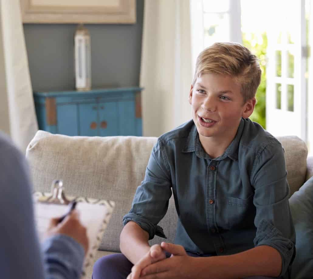 Young person receiving counselling